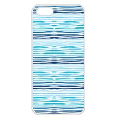 Watercolor Blue Abstract Summer Pattern Apple Iphone 5 Seamless Case (white) by TastefulDesigns