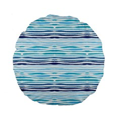 Watercolor Blue Abstract Summer Pattern Standard 15  Premium Flano Round Cushions by TastefulDesigns