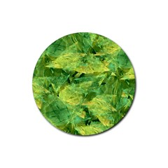 Green Springtime Leafs Rubber Coaster (round)  by designworld65