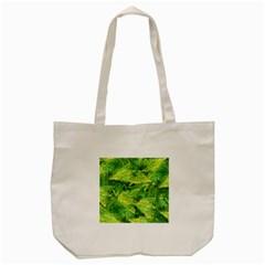 Green Springtime Leafs Tote Bag (cream) by designworld65