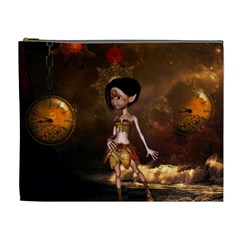 Steampunk, Cute Little Steampunk Girl In The Night With Clocks Cosmetic Bag (xl) by FantasyWorld7