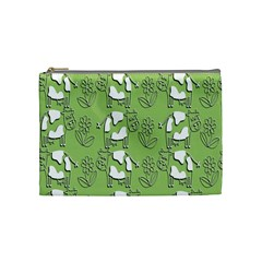 Cow Flower Pattern Wallpaper Cosmetic Bag (medium)