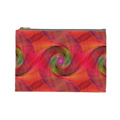 Red Spiral Swirl Pattern Seamless Cosmetic Bag (large)  by Nexatart