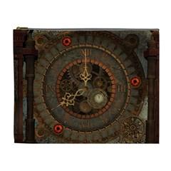 Steampunk, Awesome Clocks Cosmetic Bag (xl) by FantasyWorld7