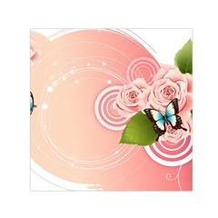 Rose Butterfly Patterns  Small Satin Scarf (square) by amphoto