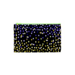 Space Star Light Gold Blue Beauty Cosmetic Bag (xs) by Mariart