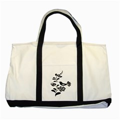 Birds Flower Rose Black Animals Two Tone Tote Bag