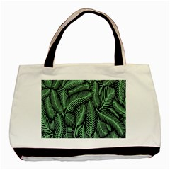 Coconut Leaves Summer Green Basic Tote Bag (two Sides) by Mariart