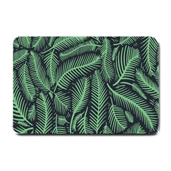 Coconut Leaves Summer Green Small Doormat  by Mariart