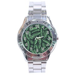 Coconut Leaves Summer Green Stainless Steel Analogue Watch by Mariart