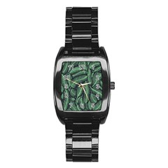 Coconut Leaves Summer Green Stainless Steel Barrel Watch by Mariart