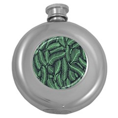 Coconut Leaves Summer Green Round Hip Flask (5 Oz) by Mariart