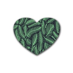 Coconut Leaves Summer Green Rubber Coaster (heart)  by Mariart