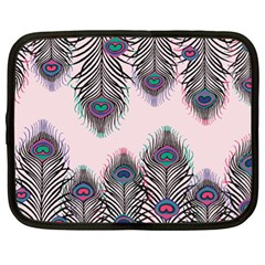 Peacock Feather Pattern Pink Love Heart Netbook Case (xl)  by Mariart