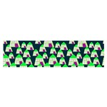 Edgy Cartoon Small Houses Pink Green Purple Multi Satin Scarf (Oblong)