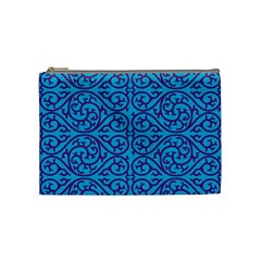 Monogram Blue Purple Background Cosmetic Bag (medium)  by Nexatart
