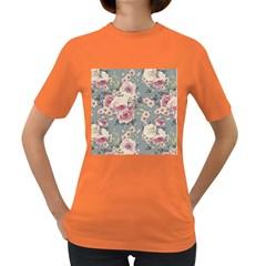 Pink Flower Seamless Design Floral Women s Dark T Shirt
