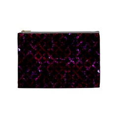 Circles3 Black Marble & Burgundy Marble Cosmetic Bag (medium)  by trendistuff