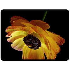 Ranunculus Yellow Orange Blossom Fleece Blanket (large)