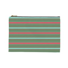 Horizontal Line Red Green Cosmetic Bag (large)  by Mariart