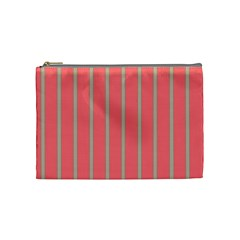Line Red Grey Vertical Cosmetic Bag (medium)  by Mariart