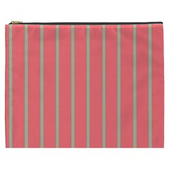 Line Red Grey Vertical Cosmetic Bag (xxxl)  by Mariart