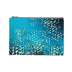 Flower Back Leaf River Blue Star Cosmetic Bag (large)  by Mariart