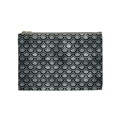 Scales2 Black Marble & Gray Metal 2 (r) Cosmetic Bag (medium)  by trendistuff