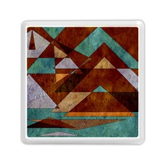 Turquoise And Bronze Triangle Design With Copper Memory Card Reader (square)  by digitaldivadesigns