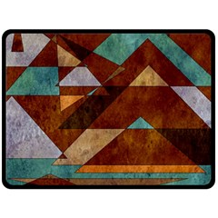 Turquoise And Bronze Triangle Design With Copper Double Sided Fleece Blanket (large)  by digitaldivadesigns