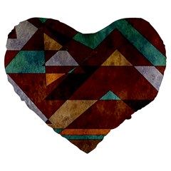 Turquoise And Bronze Triangle Design With Copper Large 19  Premium Flano Heart Shape Cushions by digitaldivadesigns