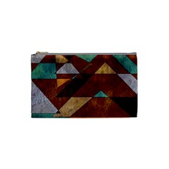 Turquoise And Bronze Triangle Design With Copper Cosmetic Bag (small)  by digitaldivadesigns