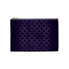 Scales2 Black Marble & Purple Brushed Metal (r) Cosmetic Bag (medium)  by trendistuff