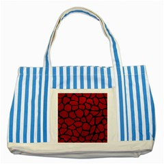 Skin1 Black Marble & Red Leather (r) Striped Blue Tote Bag