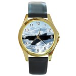 U-2 Dragon Lady Round Gold Metal Watch
