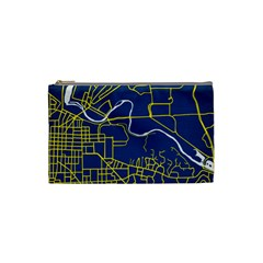 Map Art City Linbe Yellow Blue Cosmetic Bag (small)  by Alisyart
