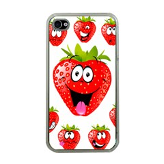 Strawberry Fruit Emoji Face Smile Fres Red Cute Apple Iphone 4 Case (clear) by Alisyart