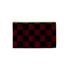 Square1 Black Marble & Red Wood Cosmetic Bag (xs) by trendistuff