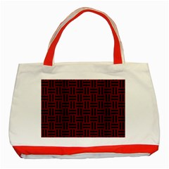 Woven1 Black Marble & Red Wood Classic Tote Bag (red)