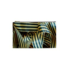 Ribbons Black Yellow Cosmetic Bag (small)  by Jojostore
