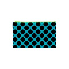 Circles2 Black Marble & Turquoise Colored Pencil Cosmetic Bag (xs) by trendistuff