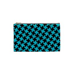 Houndstooth2 Black Marble & Turquoise Colored Pencil Cosmetic Bag (small)  by trendistuff