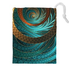 Beautiful Leather & Blue Turquoise Fractal Jewelry Drawstring Pouches (xxl) by jayaprime