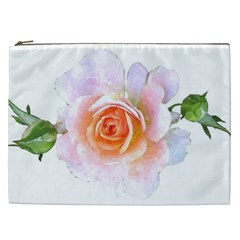 Pink Rose Flower, Floral Watercolor Aquarel Painting Art Cosmetic Bag (xxl)  by picsaspassion