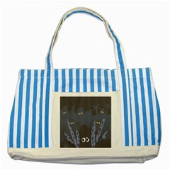 Ghost Halloween Eye Night Sinister Striped Blue Tote Bag