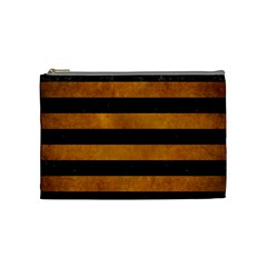 Stripes2 Black Marble & Yellow Grunge Cosmetic Bag (medium)  by trendistuff