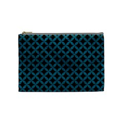 Circles3 Black Marble & Teal Leather (r) Cosmetic Bag (medium)  by trendistuff