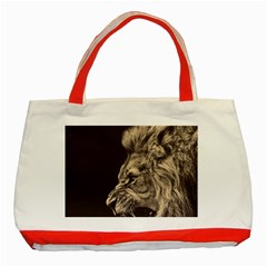 Angry Male Lion Classic Tote Bag (red)