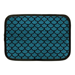 Scales1 Black Marble & Teal Leather Netbook Case (medium)  by trendistuff