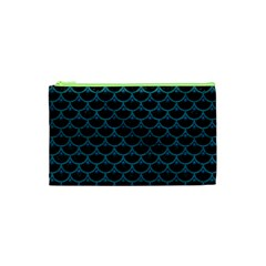 Scales3 Black Marble & Teal Leather (r) Cosmetic Bag (xs) by trendistuff